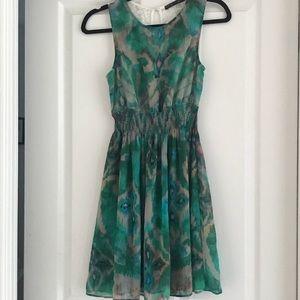 Zara Basic Green Watercolor Lace Dress Sz S